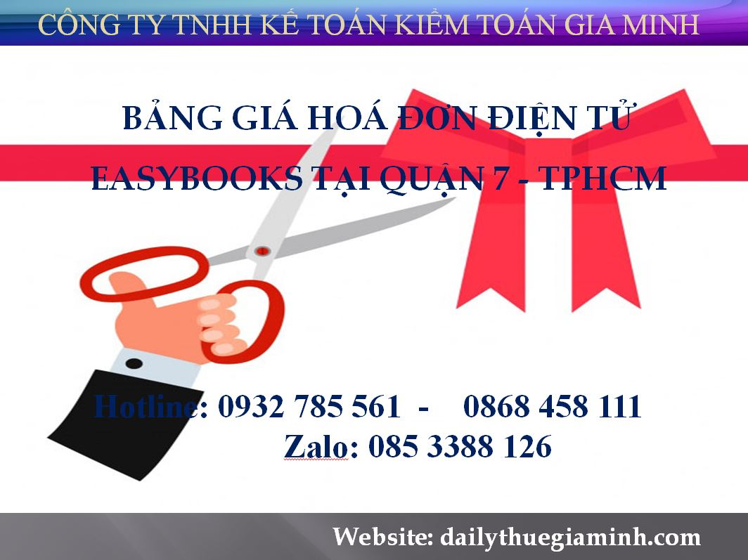 bảng giá hoá đơn điện tử easybooks tại Quận 7  - TPHCM
