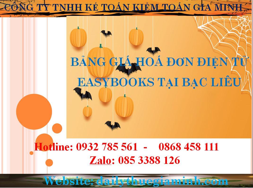 bảng giá hoá đơn điện tử easybooks tại Bạc Liêu