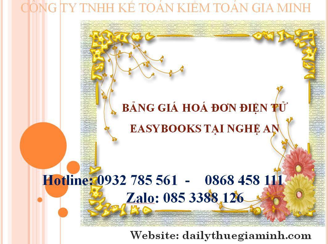 bảng giá hoá đơn điện tử easybooks tại Nghệ An