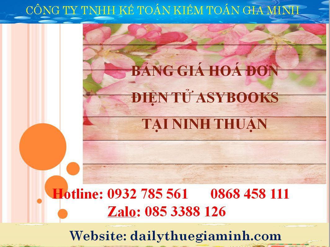 Bảng giá hoá đơn điện tử easybooks tại Ninh Thuận